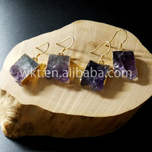 Buy WE-E128 Wholesale Exclusive earrings raw purple crystal druzy earrings 24k gold electroplated natural stone earrings for $37.00 in AliExpress store