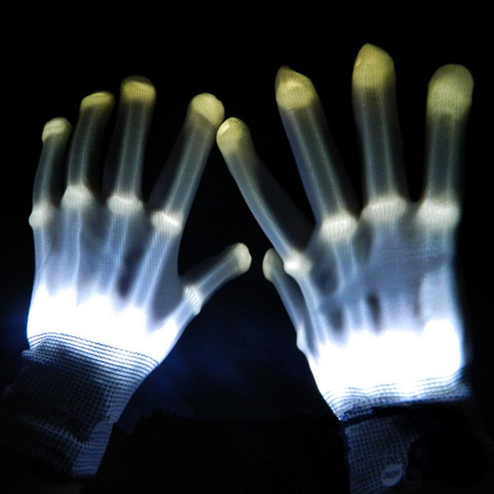 Pair of Colorful LED Gloves Rave Light Finger Lighting Flashing Gloves Unisex skeleton Gloves(China (Mainland))