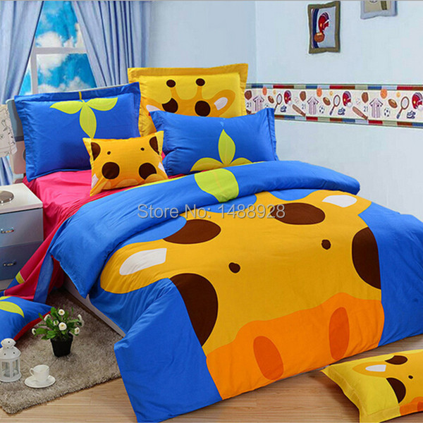 Promotional inexpensive cotton animal shaped cute bedding set of 4 pcs including 1 duvet cover 1 sheet and 2 pillowcases(China (Mainland))