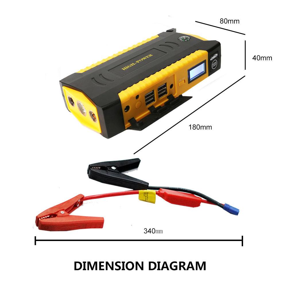 Large Capacity 69800mAh Car Jump Starter 4USB Portable Phone Laptops Power Bank SOS Lights Compass Safety Hammer CS007