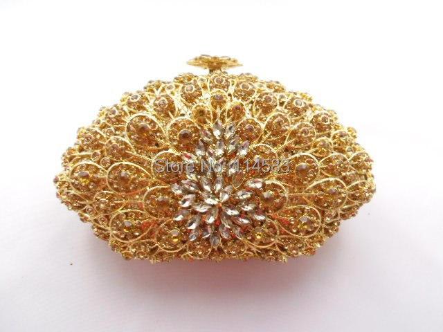 8251G GOLD Crystal SHELL floral flower Wedding Bridal Party Night Black Metal Evening purse clutch bag case handbag