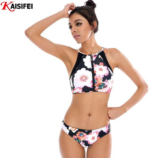 Новый 2016 бикини женщины Zip бразильский женский бикини ретро купальник сексуальная печать купальники купальники майо де водяной роковой