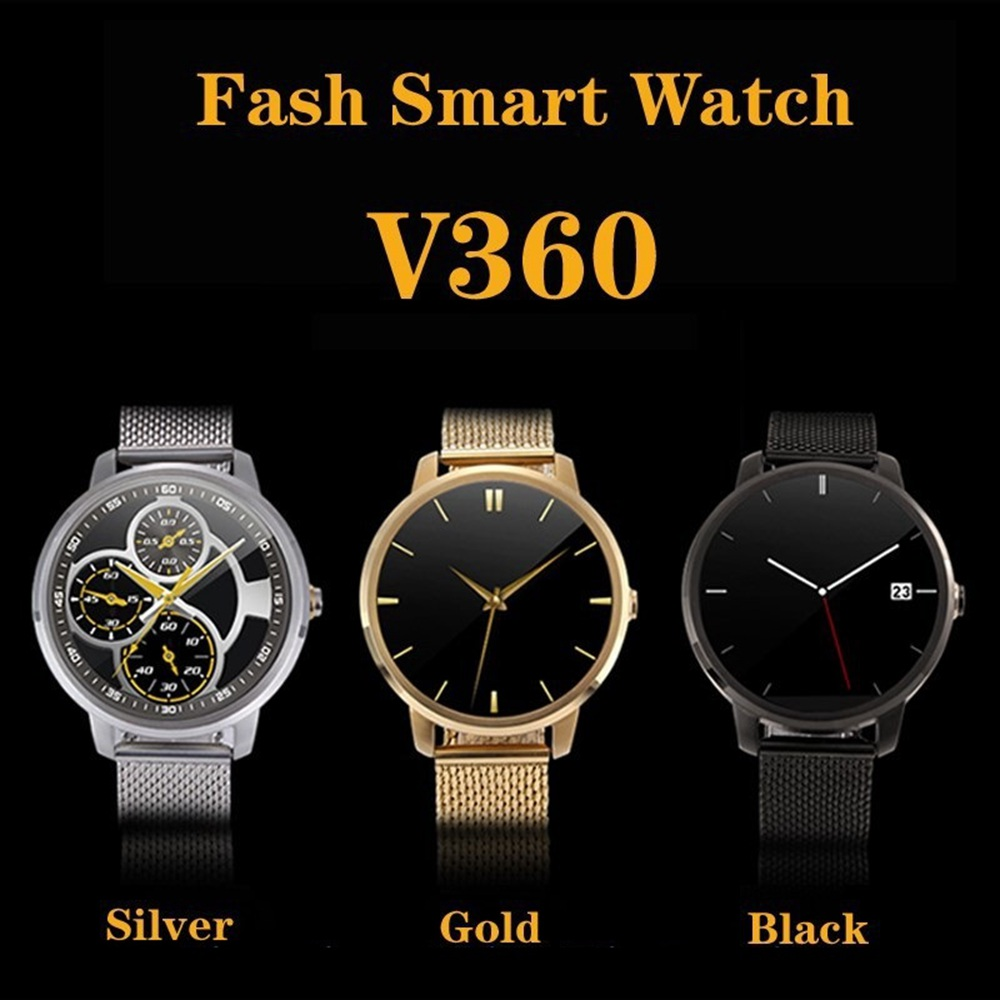 2015 Wrist Smart Watch V360 Men Round Clock with Stainless Steel Strap MTK2502 2 Mega Pixel Camera and Bluetooth Pedometer<br><br>Aliexpress