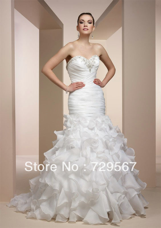 Modest Ruffle Wedding Dresses : New vestido de noiva mermaid modest organza ruffle