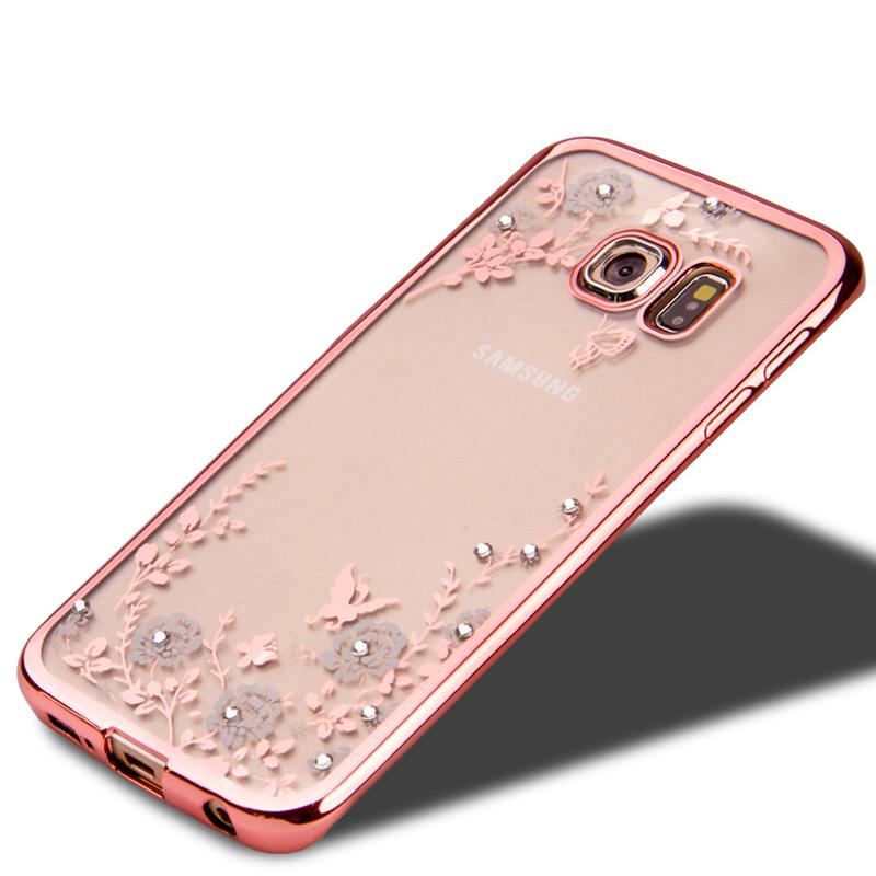Flowers Pattern plating Bling Diamond Rhinestone Soft TPU Case For Samsung Galaxy s6 edge plus / s6 edge / s6 rubber Back Covers(China (Mainland))