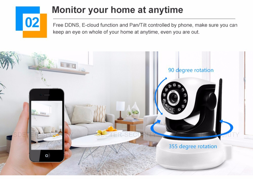 Free Ship P2P IP Camera  Wifi Wireless Baby Monitor PTZ Security Camera ONVIF Cloud Night Vision Micro SD Card Wi fi cctv camera