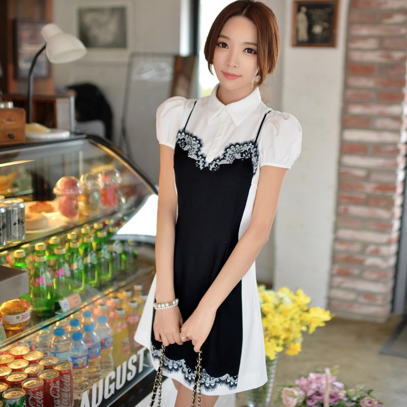 Original 2016 Brand Women Clothes Summer Puff-Sleeve Plus Size Slim Elegant Kimono False 2 Pieces Women Shirt Dress Wholesale(China (Mainland))