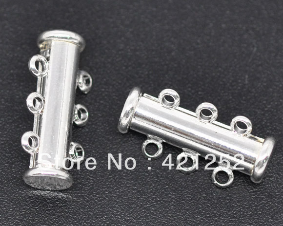 20pcs Silver Plated 3 Strands Magnetic Slide Lock Clasps 20x10mm(China (Mainland))