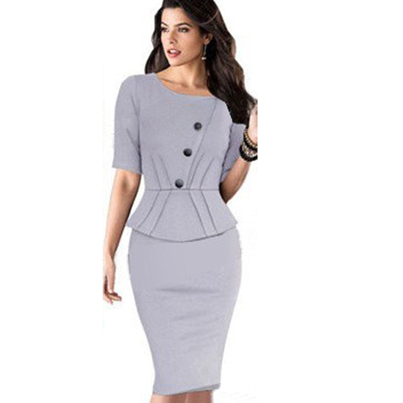 2015 new women pencil dress elegant formal midi dress party evening lady clothing fashion brand sexy A-breasted bodycon dresses(China (Mainland))