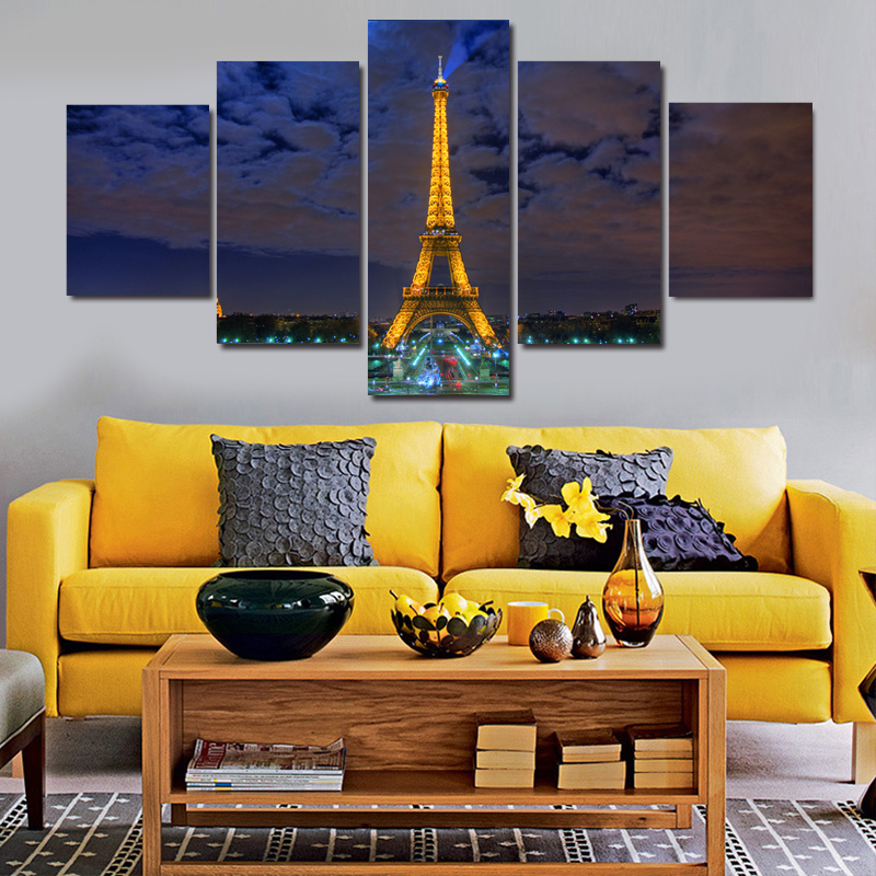 2016 New 5 Piece Eiffel Tower Night Landscape Oil Painting