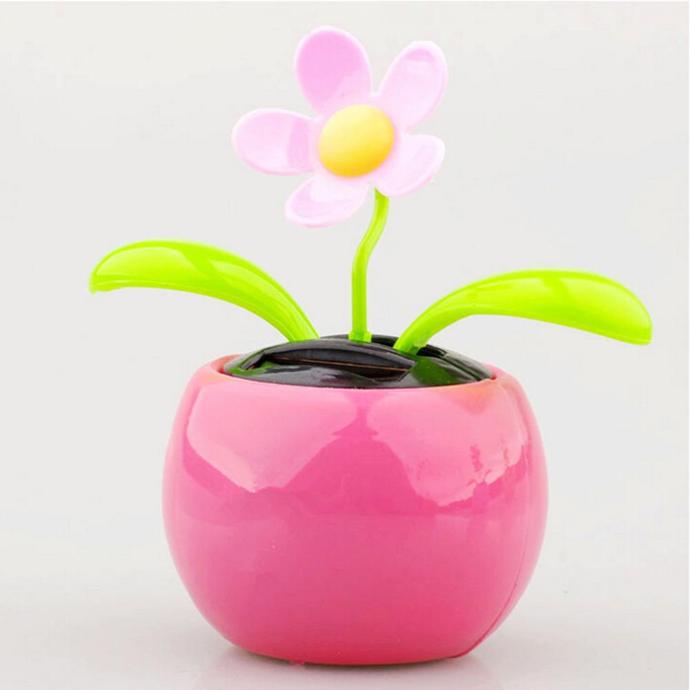 1PCS New Plastic Crafts Home Car Flowerpot Solar Power Flip Flap Flower Plant Swing Auto Dance Toy Colors Random(China (Mainland))