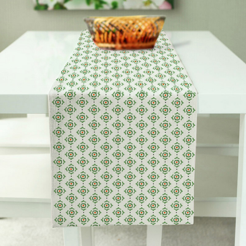 Aothoher New Design White & Green Stripes Color Table Runner Polyester / Cotton Fashion Pattern Home & Hotel Table Runner 3 Size(China (Mainland))