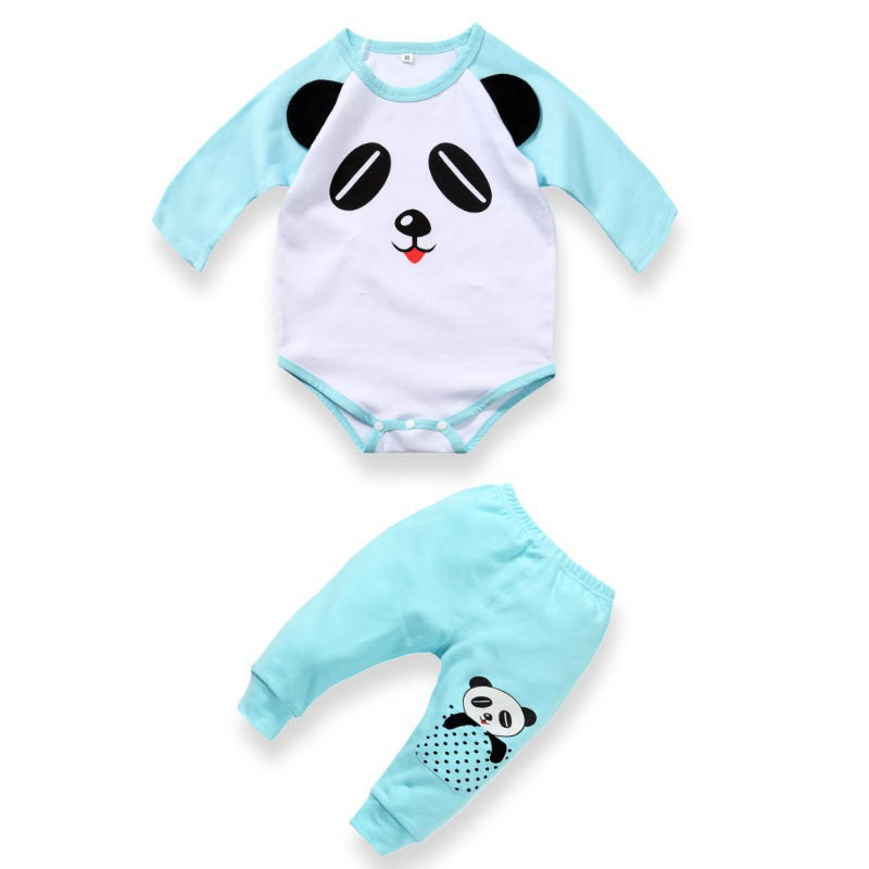 baby rompers autumn Cartoon newborn boy clothes panda Long sleeve T-shirt+ striped pant sets infant clothing bebes - HE Hello Enjoy xuan Store store