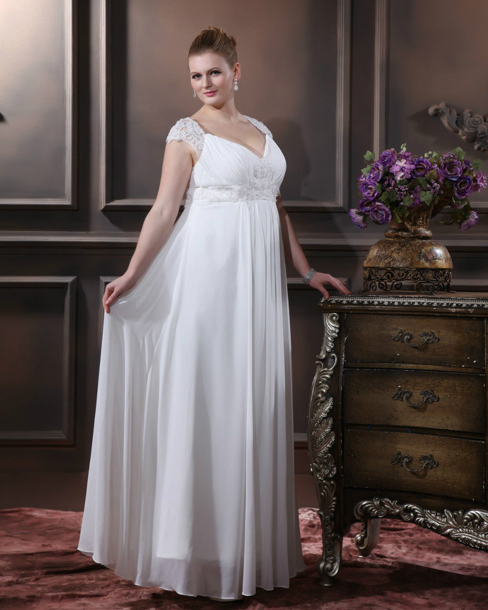 2015 New PLUS SIZE A-line V-neck Chiffon Satin Wedding Dress Bridal Gown Appliques sweep sleeveless vestidos de novia 2D137 - ebelz forever store