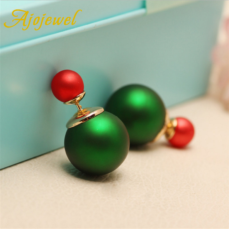 Ajojewel Double Sided Simulated Pearl Jewelry Brand Women Earings Fashion Jewelry 2016(China (Mainland))