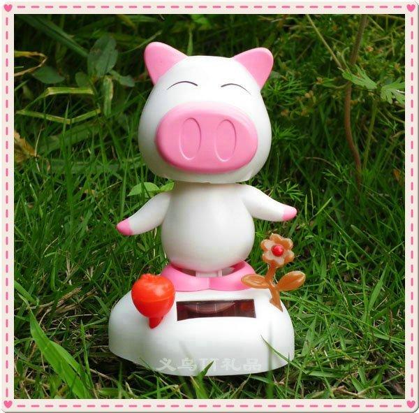 Free Shipping Powered Doraemon Shake Head & Body Shaking Swing Toy cartoon solar energy car solar shake head doll/pig monkey