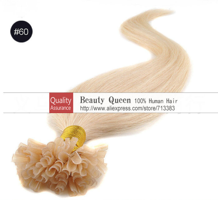 Fusion hair extension 100% Real hair Extension pre-bonded stick tip extensions remy U tip hair extensions 60# light blonde(China (Mainland))
