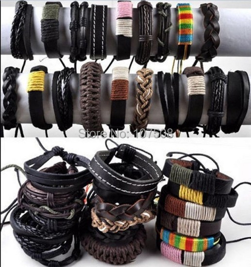 12X Wholesale Jewelry Lots Mixed Braid Leather Cord Men Women Bracelet Wristband