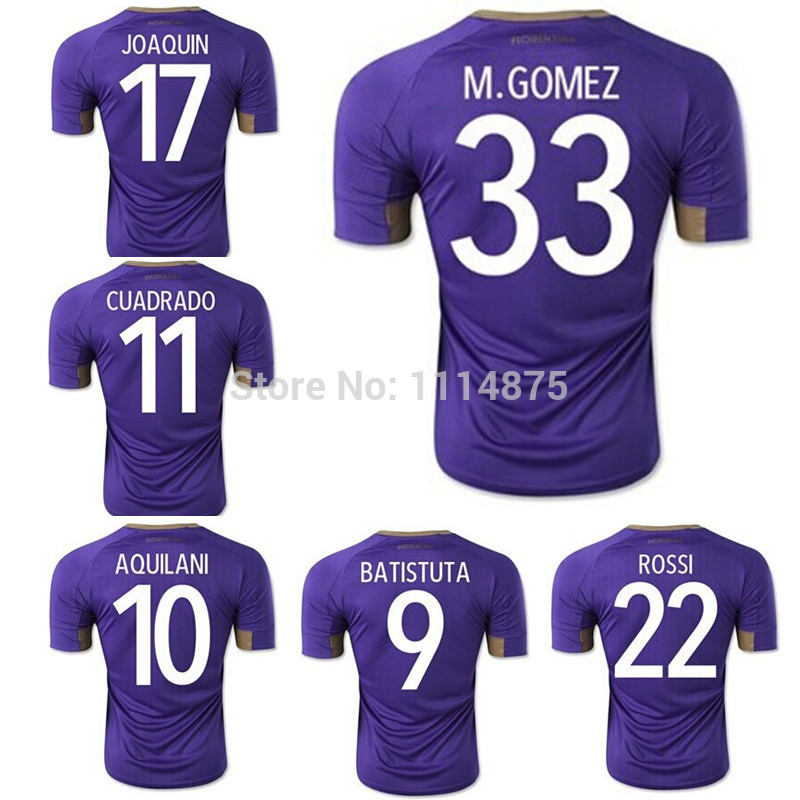 Top thai quality kits 14 15 Fiorentina soccer jerseys M.GOMEZ ROSSI home football shirts AQUILANI CUADRADO soccer uniforms+logo(China (Mainland))