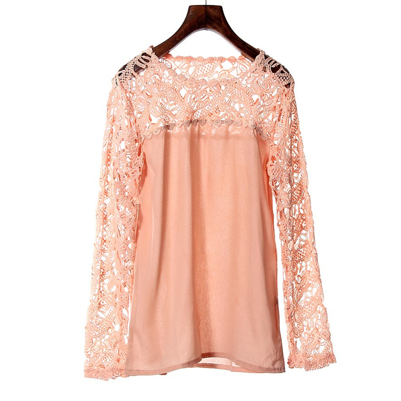 Newly Design Women Lace Crochet Embroidery Tops Long Sleeve Shirt Casual Blouse Wholesale & Retail July2(China (Mainland))