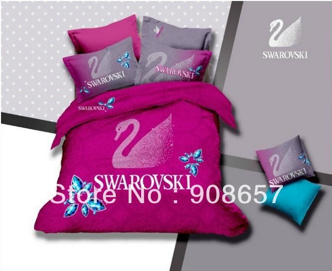 Famosa marca violeta rojo cisne impreso reina completa edredón fundas nórdicas chicas de algodón ropa de cama colcha textil hogar(China (Mainland))