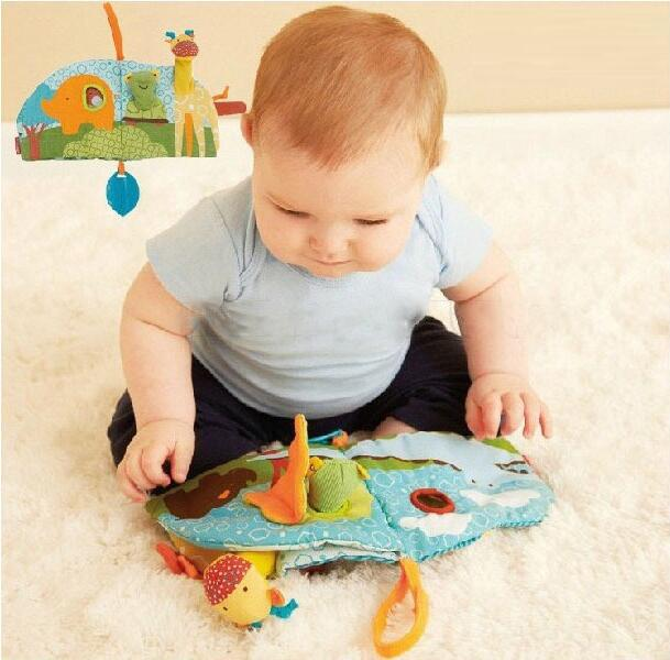 Baby Toy Infant Cloth Book Toys Multifunctional Early Education Bed Around Colorful Fun Baby Animal Cloth Book 50 pcs/lot(China (Mainland))
