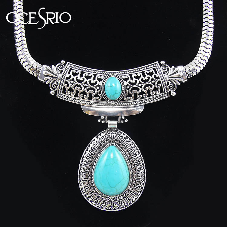Vintage turquoise stone silver tibetan plated big water drop statement necklaces & pendants nigerian african jewlery nke-k98(China (Mainland))