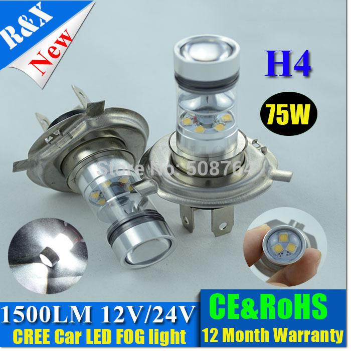 Free shipping 2pcs/lot High power led Car Auto CREE LED Light 75W H4 Fog Light Red White Yellow Driving Headlight Lamp Bulb(China (Mainland))