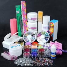 2015 New Acrylic Nail Powder Liquid Glitter Brush French Clear tips Buffer Sticker File  UV Gel Kit 129 + Free shipping(China (Mainland))