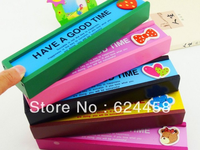 Free shipping stationery wooden pull-out pencil box/pencil case 5pcs/lot