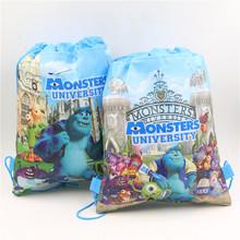 monsters university design non-woven backpacks drawstring goodie bag for travel birthday supplies for kids boys girls 6pcs(China (Mainland))