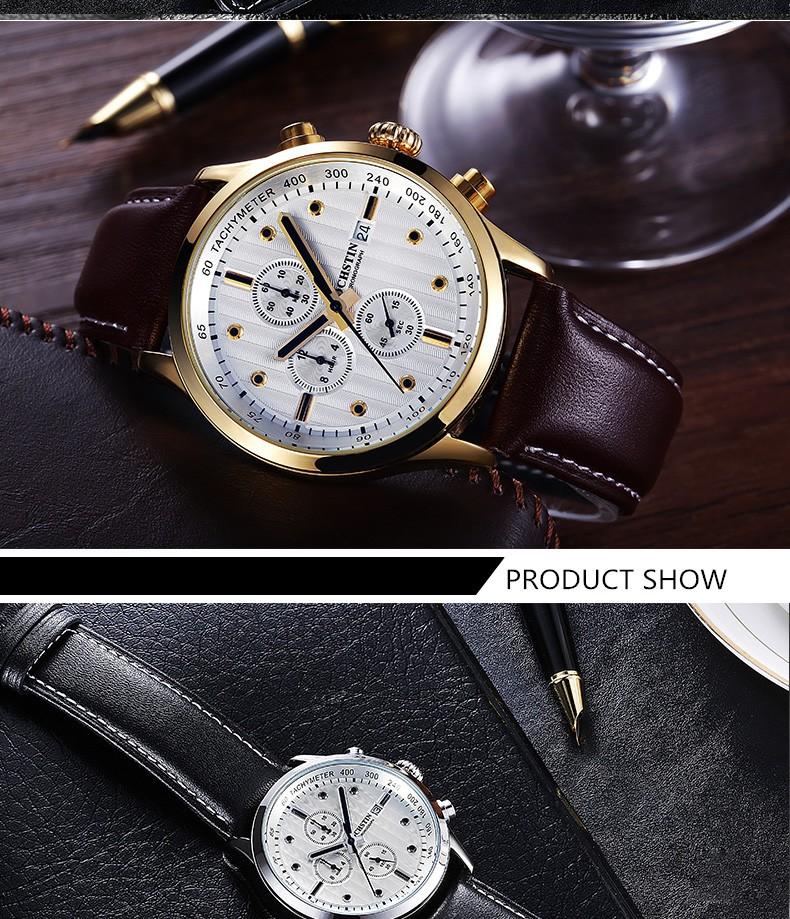 Топ Люксовый Бренд Ochstin Мужчины Спортивные Часы мужские Кварцевые Дата Кожа Военный Наручные Часы Relogio Masculino Часы Человек