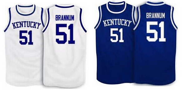 Kentucky Wildcats #51 Robert Brannum Basketball Jersey blue white or Custom any player for any name Embroidery Men jerseys(China (Mainland))