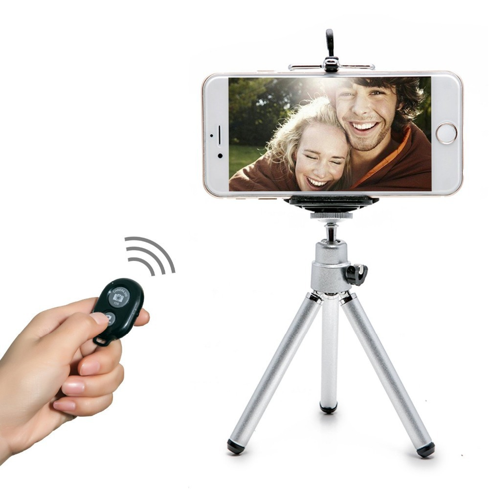 Mini 360 Rotatable Stand Tripod Mount + Phone Holder clips + Bluetooth wireless remote control for iPhone 6 Samsung HTC(China (Mainland))