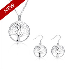European American Fashion Life Tree Pendants Necklace/Earrings Vintage Hollow Silver Plated Chain Jewelry Sets Women - HCW JEWELRY STORE store