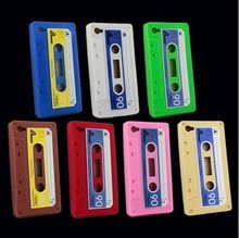 High Quality Retro Cassette Tape silicone Case Cover For iphone 4 4G 4S Free shipping DHL UPS HKPAM(China (Mainland))