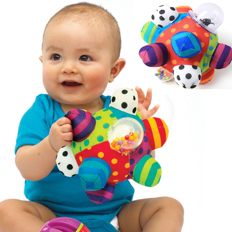 Baby Fun Pumpy Ball Cute Plush Soft Cloth Hand Rattles Bell Training Grasping Ability Toy Baby Boys Girls Ring Toys Kids Gift(China (Mainland))
