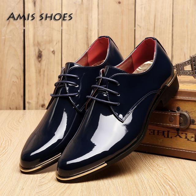 Мода мужчины золото ног и назад простой шнуровка - бизнес обувь мужской острым носом ...