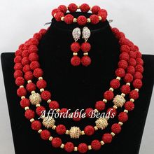 Red Nigerian Wedding Coral Jewelry Sets New African Coral Beads Handmade Style CN194(China (Mainland))