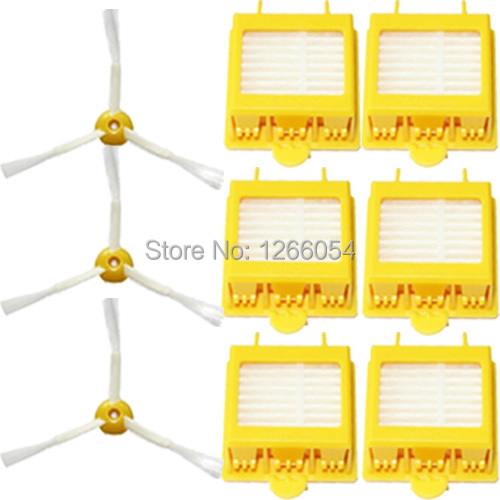 High Quality 3 Pcs Side Brush 3-armed + 6 Pcs Hepa Filter Replacement for iRobot Roomba 700 Series 760 770 780(China (Mainland))