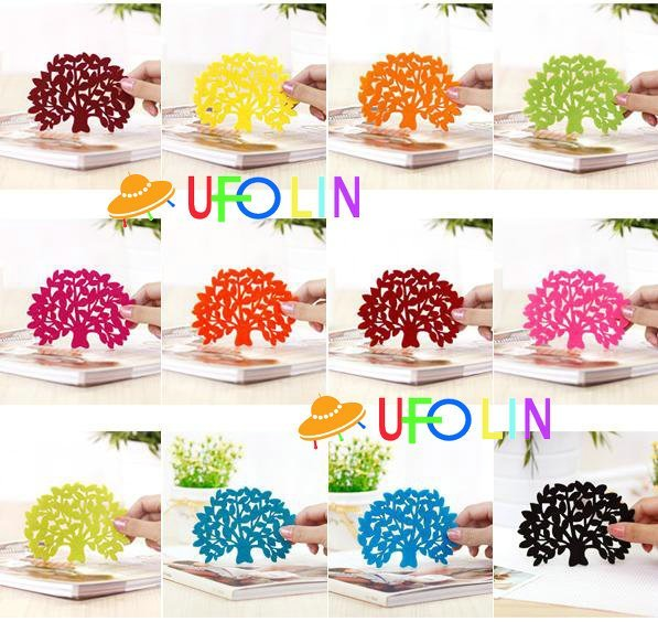 Free shipping wholesale colorful felt tree design cartoon cup mat,sweet cup pad,coaster