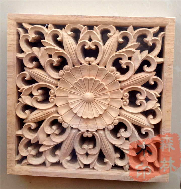 Wood dongyang wood carving wooden door furniture bed applique smd shavings home decoration 25cm squares - China store