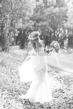 Romantic White 2014 Boho Cheap Beach Wedding Dress Bohemian Vintage Sexy Long Bridal Gowns Dress Simple