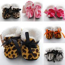 Factory Price! Leopard Zebra Dot Soft Winter Boots Toddler Kids Fleece Baby Shoes Prewalker(China (Mainland))
