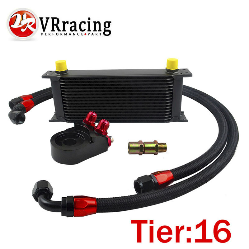 VR-Universal 16 ROWS OIL COOLER ENGINE +AN10 Oil Filter Cooler Sandwich Plate Adapter Black+2PCS NYLON BRAIDED HOSE LINE BLACK