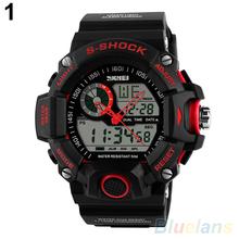 Mens Waterproof Digital LED Backlight Alarm Stopwatch Sports Rubber Wrist Watch 4KNU