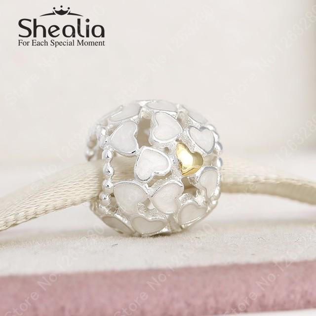 Настоящее 14 К золотое в форме сердца цвет эмали ажурные подвески 2015 зима новый серебро 925 изящные украшения для женщин браслеты DIY
