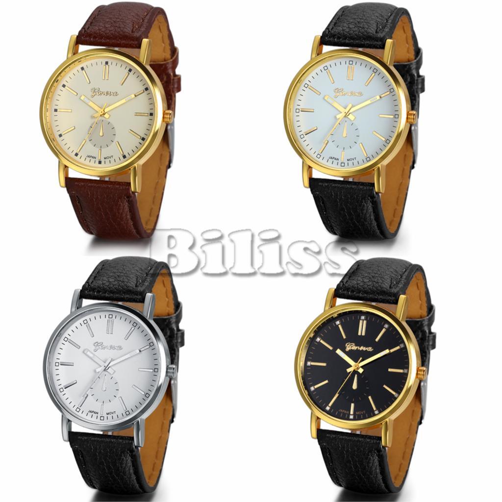 2015 Luxury Gold Fashion Classic Men's Watches Geneva Brand Leather Strap Analog Clock Men Casual Business Dress Watch(China (Mainland))
