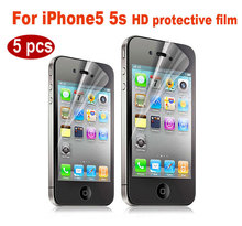 High Quality 5PCS 2.5D HD Protective Film for iphone 5s 0.26mm Clear lcd Front Screen Protector for iphone 5 With Retail Package