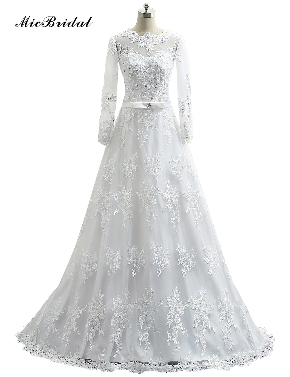 Micbridal 2016 new lace vintage wedding dress a line long for Vintage beaded lace wedding dress